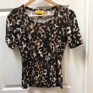 St. John Cheetah animal print sparkle tee shirt